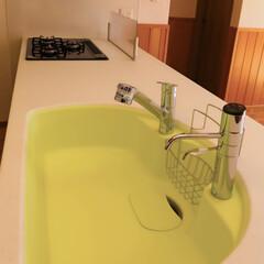 トクラスキッチン/腰板/無垢フローリング/木の家/人造大理石/キッチン/... シックな色のキッチンですが、 シンクの色…(2枚目)