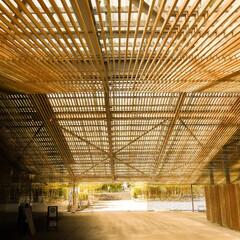 隈研吾/木の建物/木の格子/広重美術館 木の縦格子が美しい建物です