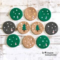 コースター/ナチュラルテイスト/ほっこり/雪だるま/ツリーモチーフ/羊毛フェルト/... クリスマステイストのコースター作りました♪