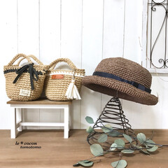 ナチュラル雑貨/小物入れ/手作り雑貨/帽子/ミニバッグ/かぎ針編み/... 編み小物作りました♪