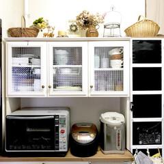 カゴ/ドライ/ハンドメイド/手作り/棚DIY/ワイヤークラフト/... 食器棚お気に入りです♪
