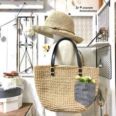 手作り/夏bag/ナチュラル/かぎ針編み/編み物/バッグ/... 麻紐bag編みました♪