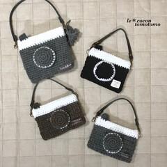カメラ型/かぎ針編み/編み物/小物/手作り雑貨/ハンドメイド 毛糸でカメラ型のポケットティッシュケース…
