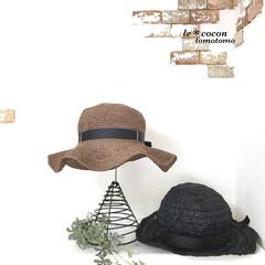 手作り/かぎ針編み/編み物/エコアンダリア/帽子/雑貨/... エコアンダリア糸で帽子を編みました♪ 黒…