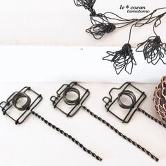 手作り雑貨/サビにくい/ワイヤーアート/ワイヤークラフト/アルミワイヤー/カメラモチーフ/... ワイヤーでカメラ型のガーデンピック作りま…