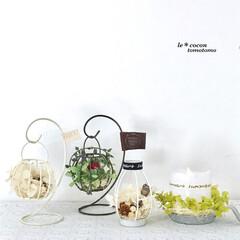 フェイクフラワーアレンジ/LEDライト/セリア/ドライアレンジ/プリザーブドフラワー/手作り雑貨/... 花雑貨色々作りました♪