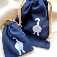 雑貨/ハンドメイド/ファッション/猫/猫雑貨/ポーチ/... ねこプリント巾着ポーチ作りました。