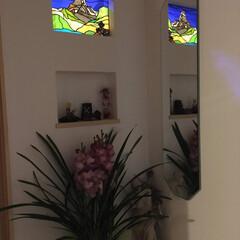 ステンドグラス/新居/リフォーム/山 2世帯住宅で違うステンドグラスを依頼、両…