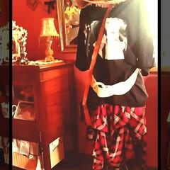 チェック/休憩/スカート/ユニクロ/プラダを着た悪魔/リメイク/... 仕事休憩なう  自宅にある、服のRe:m…