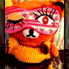 リラックマ/デコる/余り布/フェルト/アイマスク/ピンク/... アイマスク(笑)  フェルトと余り布で作…