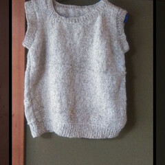 ニット/編み物/フォロー大歓迎/ハンドメイド/おでかけ/住まい/... 母が作ったベスト♡♡  メリヤス編みで4…
