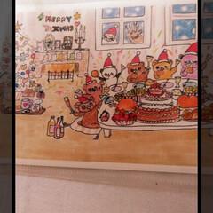 妹からのサプライズ/絵画/クリスマス/デスク周り/パソコンデスク 妹作の 絵を病院に持ってきてもらいました…