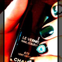ネイルシール/CHANEL/ネイル/フォロー大歓迎/おでかけ/住まい/... CHANELの青緑のネイル♥♪ モロッカ…