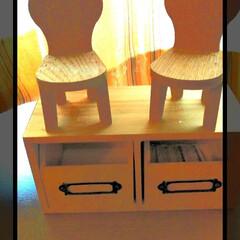 木箱/リメイク/イス/フォロー大歓迎/雑貨/100均/... DAISOにて買った  チェアと木のbo…