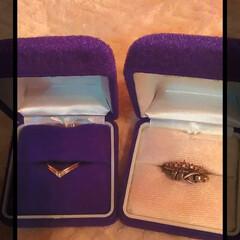 キャビネット/K18/ダイヤ/貰い物/指輪ケース/フォロー大歓迎/... 母からもらった、  指輪ケース♪  紫が…