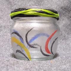 ガラス/ガラスペイント/空き瓶/リサイクル/リサイクルアート/節約/... 「リサイクルガラスアート」  空き瓶にガ…