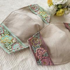 便利グッズ/インナーマスク/マスクカバー/リボン/刺繍/布小物/... my works :  インドの刺繍リボ…(1枚目)