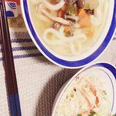 うどん 今日の夕飯😊⭐︎ チーズとカニカマとかい…