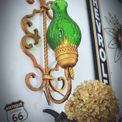 ブラケット照明/ウォールランプ/ミッドセンチュリー/ハリウッドリージェンシー/アンティークガラス/ヴィンテージランプ/... 🇺🇸アメリカ買付 60's 真鍮×カラー…