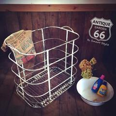 洗濯カゴ/シャビーシック/インダストリアル/プランターカバー/おもちゃ箱/ランドリーカート/... 🇺🇸アメリカ買付け シャビーシックなラン…