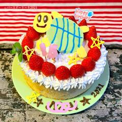 ハンドメイド/佐藤家ーキ/シフォンケーキ/ケーキデコ/バースデーケーキ 長男くんの バースデーケーキ🎂  今回の…(1枚目)