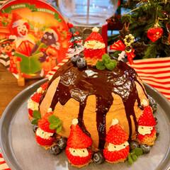 クリスマス/ケーキデコ/手作りケーキ/佐藤家ーキ/ドームケーキ/クリスマスケーキ/... 🎄クリスマス後記。  今年はチョコのドー…