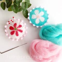 ピンクッション/針さし/パッチワーク/羊毛フェルト/手作り/ハンドメイド/... 羊毛フェルトで作るピンクッション。布に綿…