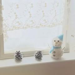 毛糸/セリア/フェルト 毛糸巻くだけ雪だるま⛄