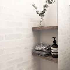 洗面所収納/サニタリールーム/100均/セリア/インテリア/DIY/... 洗面所の収納付き鏡と壁の隙間に突っ張り棒…