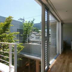 中庭/屋上庭園/スタディコーナー 奥が道路に面する屋上庭園で、廊下の一角に…