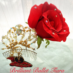 キトリのお花とティアラ❣️/ハンドメイド/ティアラ/バレエ キトリの髪飾り❣️ 愛らしく輝くお花とテ…