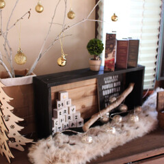 クリスマス/ブルックリン/木箱/ステンシル自作/積み木/100均/... DIYした物は、白い積み木にクリスマスの…