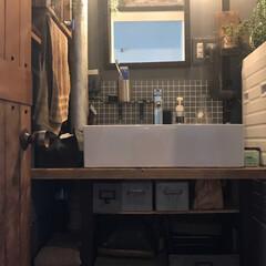 洗面台DIY/団地セルフリノベーション/DIY 規制の洗面台を撤去して新たにDIYで憧れ…
