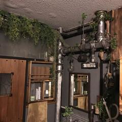 団地セルフリノベ/エイジング塗装/剥き出し配水管/洗面所/グリーン/DIY 団地あるある‼︎ 剥き出しの配水管をエイ…