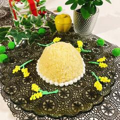 ミモザケーキ/ミモザアカシア/ミモザ/キウイフルーツ/食紅/ホイップクリーム/... ❁❁❁ミモザドームケーキ❁❁❁ 2枚目の…(1枚目)