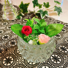 お花のある暮らし/お花の生活/フェイクフラワー/100均/薄グラス/グラス/... 薔薇🥀 薄グラス🍷 キャンドルホルダー🕯…(6枚目)