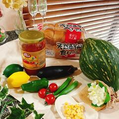 断面/ゆで卵/お花/お花達/ピザトースト/ピザ/... ピザトースト🍞 夏野菜のお花達集合~❁⃘…(3枚目)