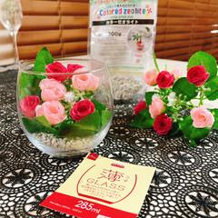 お花のある暮らし/お花の生活/フェイクフラワー/100均/薄グラス/グラス/... 薔薇🥀 薄グラス🍷 キャンドルホルダー🕯…(3枚目)