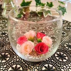お花のある暮らし/お花の生活/フェイクフラワー/100均/薄グラス/グラス/... 薔薇🥀 薄グラス🍷 キャンドルホルダー🕯…(5枚目)