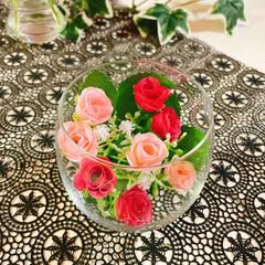 お花のある暮らし/お花の生活/フェイクフラワー/100均/薄グラス/グラス/... 薔薇🥀 薄グラス🍷 キャンドルホルダー🕯…(4枚目)