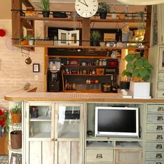 シェルフ/テレビボード/壁を壊す/DIY/キッチンカウンター/キッチンリフォーム/... キッチンカウンター下はぴったりサイズのシ…