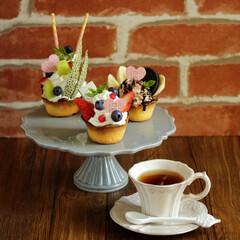 パフェタルト/タルト/おうちカフェ/おやつ/ベリー/チョコバナナ パフェタルトを作ってみました~♪  苺と…
