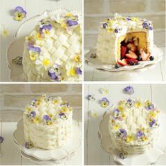 エディブルフラワー/ケーキ/かくれんぼケーキ/苺/ブルーベリー/おうちカフェ/... * パンジーのバスケットケーキ♪  パン…