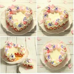おうちカフェ/おやつ/ケーキ/エディブルフラワー/苺/フレジェ風/... * エディブルフラワーの苺のチーズケーキ…