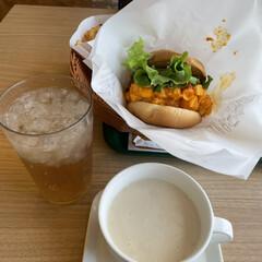 昼食 今日のお昼は、マッケンチーズ&コロッケセ…(1枚目)