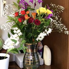 玄関 久し振りに花瓶に飾るお花を買ってきました…