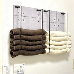 洗面所/セリア/ハンドメイド いつも使用するフェースタオルを収納するラ…(1枚目)