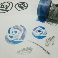 マステ/マスキングテープ/ポストカード/薔薇/バラ/イラスト マスキングテープの特徴である、透ける性質…
