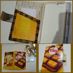 マスキングテープ/iPhoneケース お菓子の空き箱で作ったスマホケース 中は…