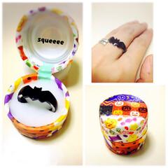 マスキングテープ/ハロウィン/リング/プラバン コウモリの指輪を作ったので、ペットボトル…